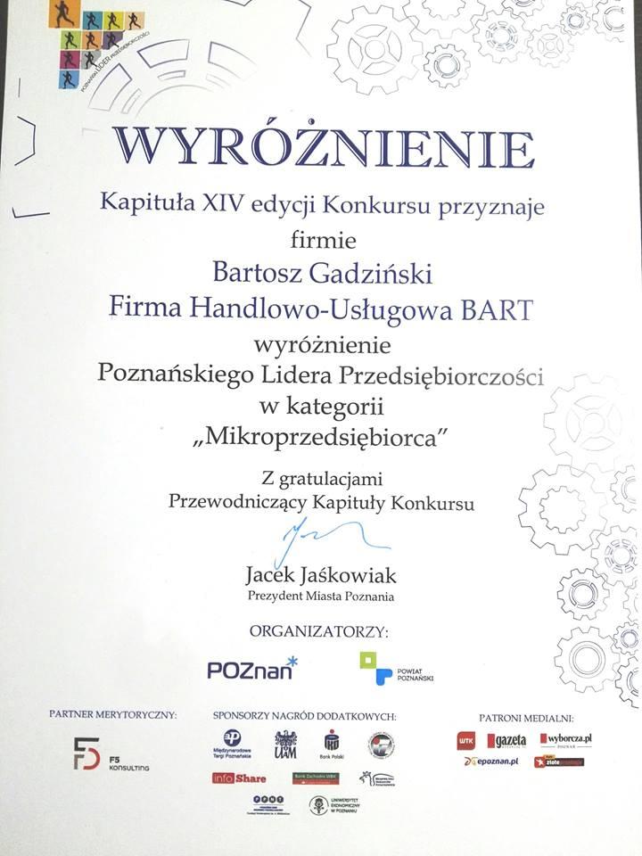 Wyróżnienie Poznańskiego Lidera Przedsiębiorczości w kategorii